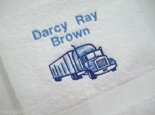 Pesonalised  Hand Towel, Lorry Design